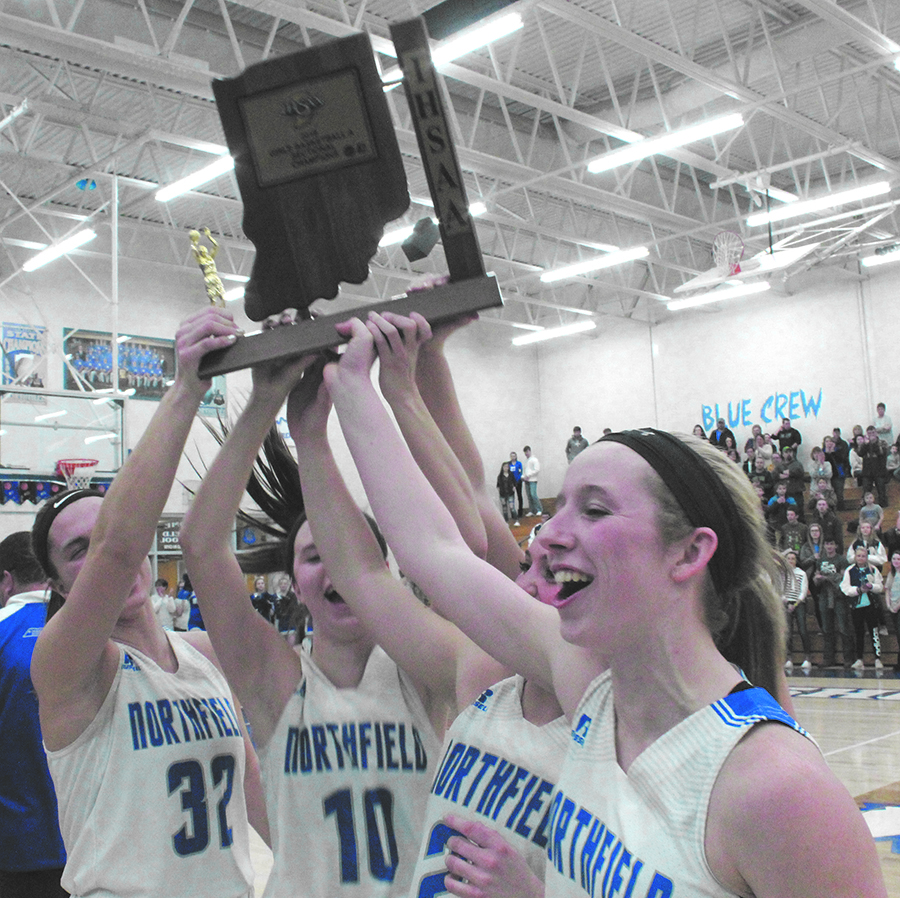 18ad184be472 Members of the Northfiled Lady Norse raise the sectional trophy  Saturdaynight after a 58-31 win over Southwood in the finals of the IHSAA  Sectional 54 at ...