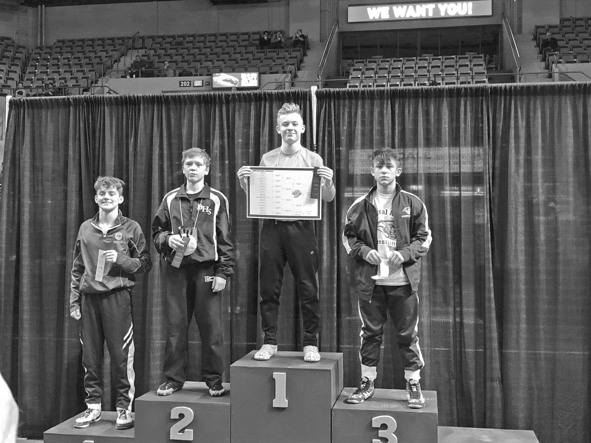 a3ae06f2ee0 Wabash s Jared Brooks shows off his ribbon and the bracket for the  106-pound weight class he won at the New Haven Semi-state wrestling tourney  to advance to ...